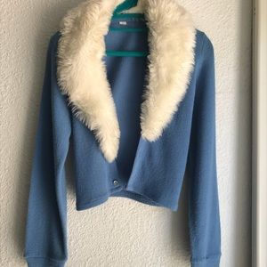 FUAX FUR POWDET BLUE 50s CARDIGAN